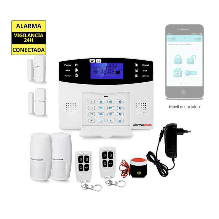 alarmas-zoom AZ017 20 Alarma Hogar con voces en Espanol Castellano GSM con 2 sensores puertas y 2 detectores movimiento