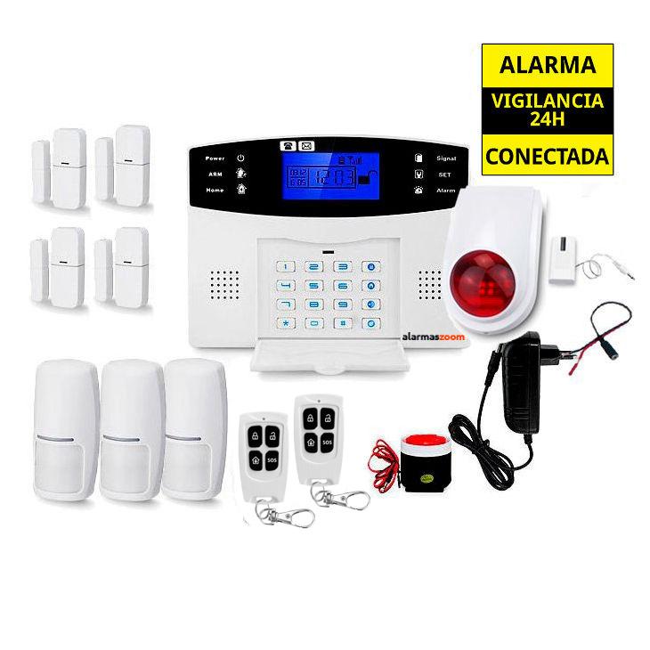 alarmas-zoom AZ017 22 Alarma Hogar con voces en Espanol Castellano GSM con 4 sensores puertas, sirena inalambrica y 3 detectores movimiento