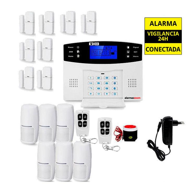 alarmas-zoom AZ017 24 Alarma Hogar con voces en Espanol Castellano GSM con 8 sensores puertas y 6 detectores movimiento