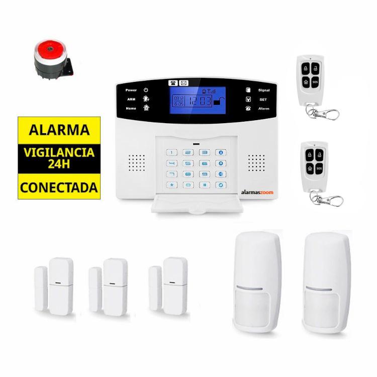 alarmas-zoom AZ017 5 Alarma Hogar con voces en Espanol Castellano GSM con 2 y 3 detectores inalambricos