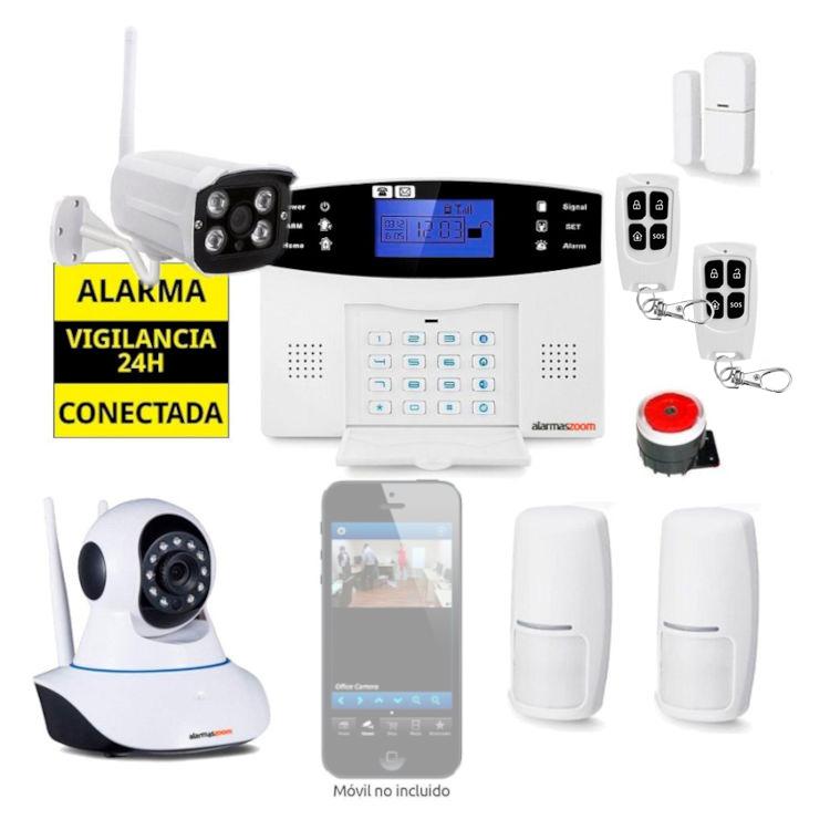 Kit Alarma Hogar AZ017 GSM Camara de vigilancia interior exterior 2 Detectores movimiento