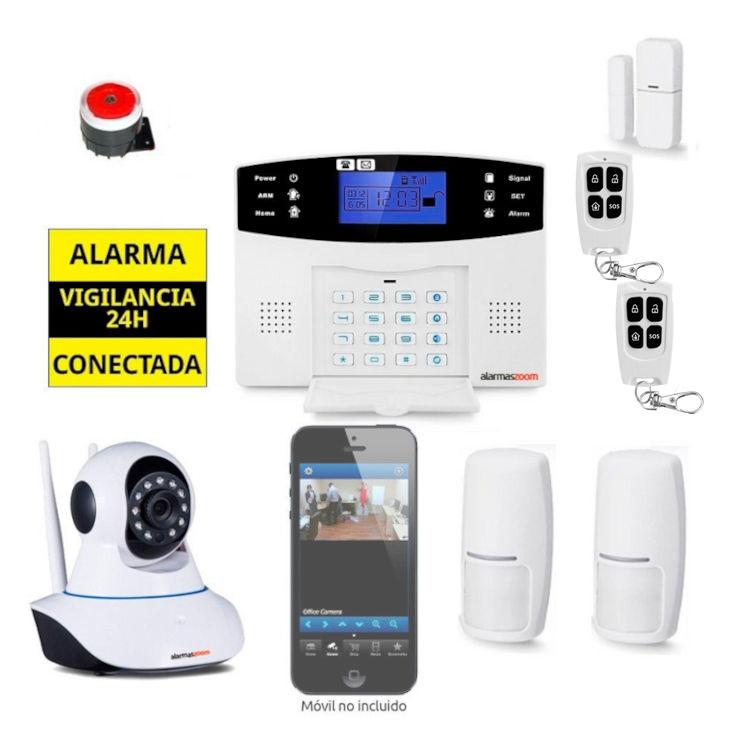Kit Alarma Hogar AZ017 GSM Camara de vigilancia interior 2 Detectores movimiento
