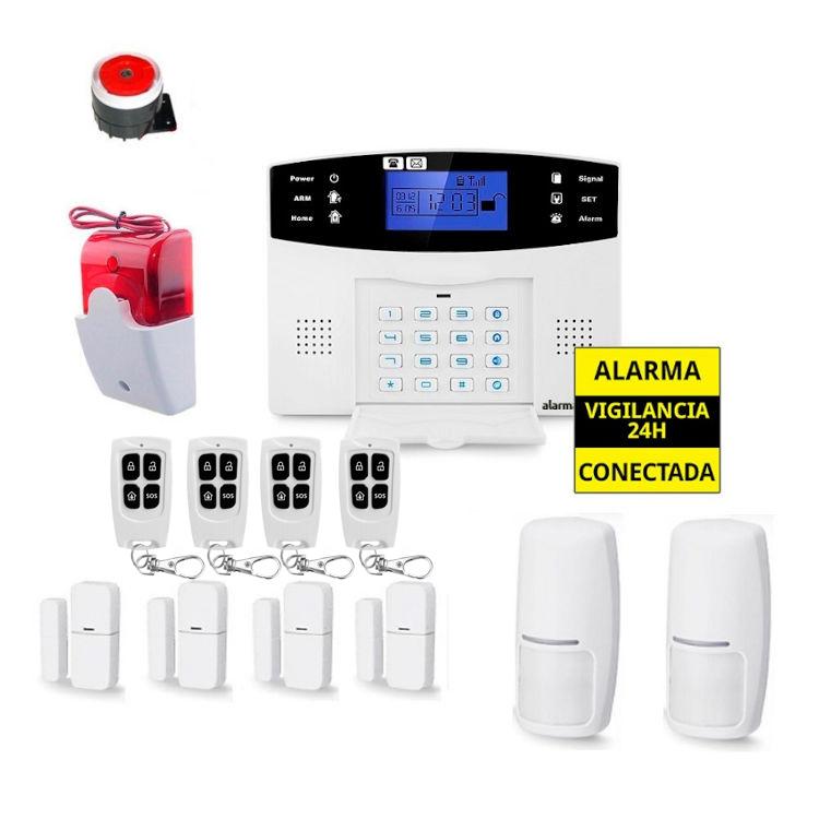 alarmas-zoom AZ017 6 Alarma Hogar con voces en Espanol Castellano GSM con 4 mandos 4 detectores puerta y 2 de movimiento