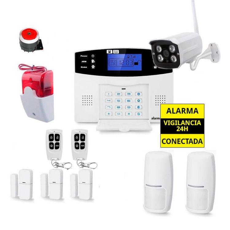 Kit Alarma Hogar AZ017 Sirena Exterior 3 Detectores apertura puertas Camara externa