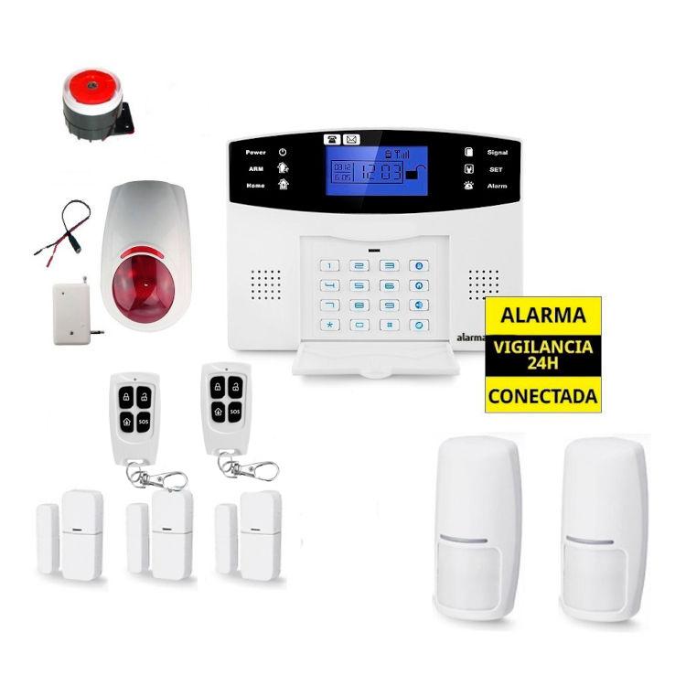 Kit Alarma Hogar AZ017 Sirena Exterior inalambrica OFS03 3 Detectores apertura puertas