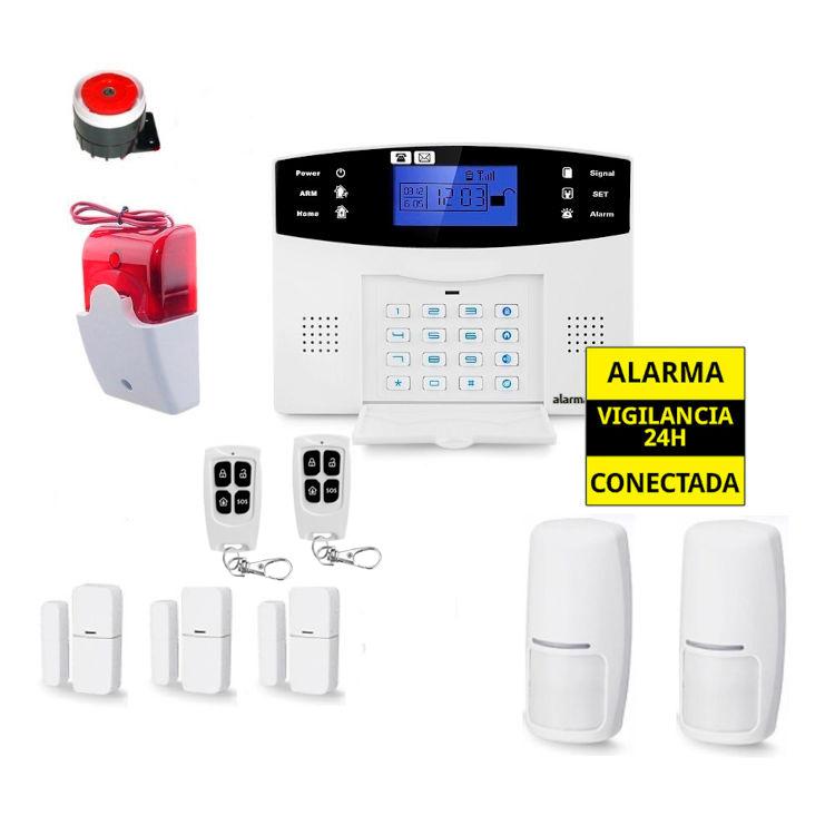 Kit Alarma Hogar AZ017 Sirena cable luminosa 3 Detectores apertura puertas