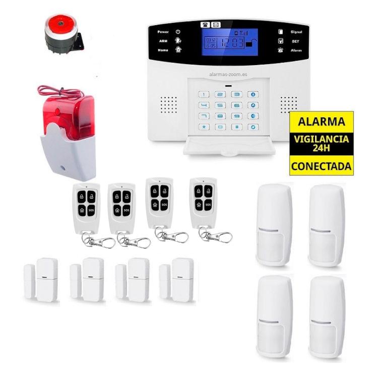 alarmas-zoom AZ017 11 Alarma Hogar con voces en Espanol Castellano GSM con 4 mandos 4 detectores puerta y 4 de movimiento y sirena luminosa