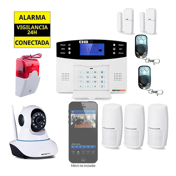 Kit Alarma Hogar AZ017 GSM Camara de vigilancia interior 3 Detectores movimiento 38