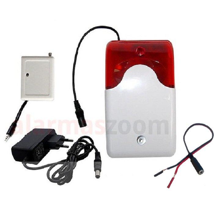 Sirena Inalambrica Alarma Luminosa Roja Cable FS201 C