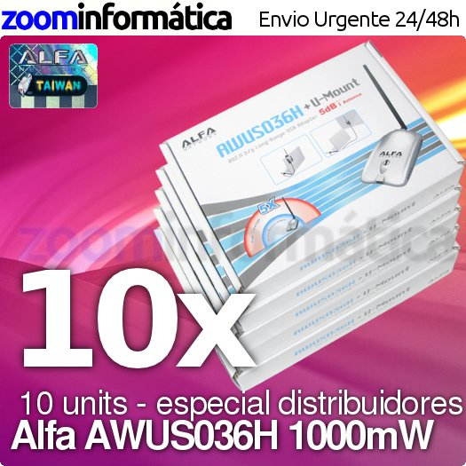 PACK distribuidores Alfa network AWUS036H PACK 10 UDS