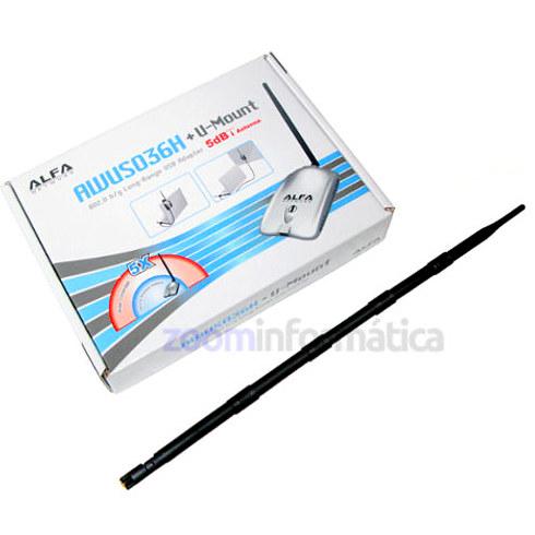 Alfa Network AWUS036H 1000MW 9DBI 1W AWUS036H 1000MW 9DBI 1W ALFA NETWORK USB Alta Potencia wifi 1000mw 1w 802.11G ALFA AWUS036H  9DBI