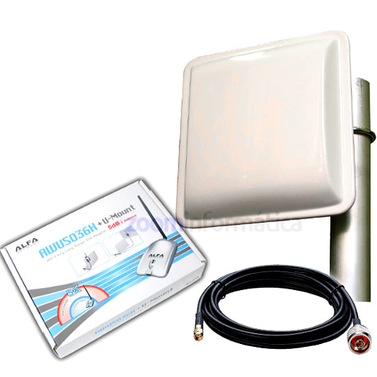 Kits WIFI Alfa network ALFA 1000MW PANEL 18DBI EXTERIOR