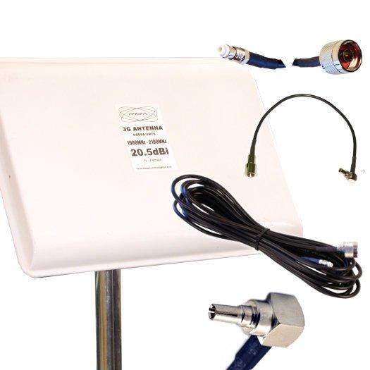 Antena Panel 3G Exterior 20dBi Cable 5 metros CRC9