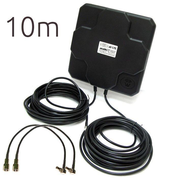Theta 4G 46DBI CRC9 4G 46dBi CRC9 THETA Antena 4G 46dbi LTE UMTS 3G exterior con conector CRC-9 multibanda cable 10 metros