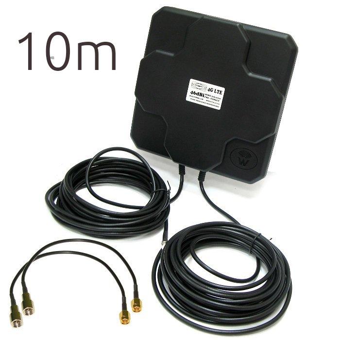 THETA 4G 46DBI SMA T Antena 4G 46dbi LTE UMTS 3G exterior con conector SMA multibanda cable 10 metros