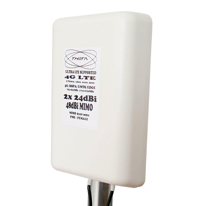 Theta 4G 48DBI 4G 48dBi THETA Antena 4G 48DBI LTE UMTS 3G exterior con conector FME multibanda cable 10 metros