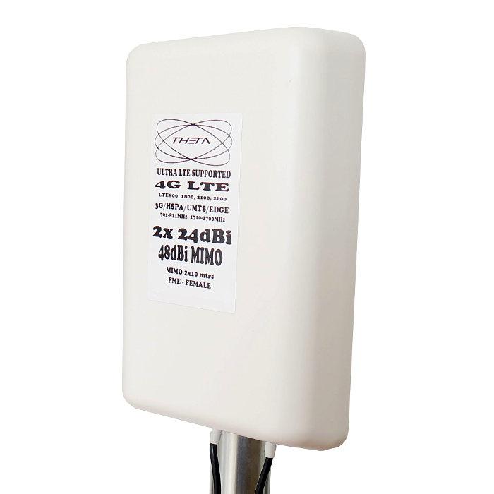 Antena 4G Theta Panel 48dBi LTE Exterior Multibanda Cables 10 metros FME