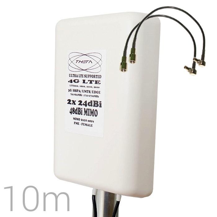THETA 4G 48DBI CRC9 Antena 4G 48DBI LTE UMTS 3G exterior con conector CRC-9 multibanda cable 10 metros