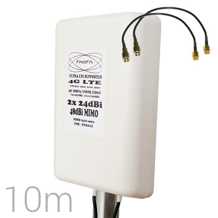 Antena 4G Theta Panel 48dBi LTE Exterior Multibanda Cables 10 metros SMA