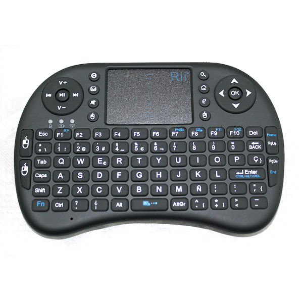 RII I8 Rii Mini i8 Wireless Espanol - Mini teclado ergonomico con raton touchpad para Smart TV, Mini PC Android, PlayStation, Xbox, HTPC, PC, Raspberry Pi
