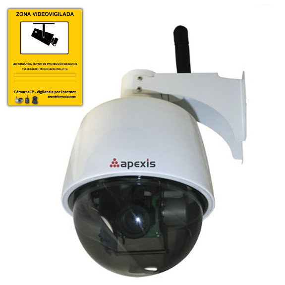 Apexis APM J901 Z WS Camara IP WiFi Motorizada exterior Zoom optico 3x Blanca