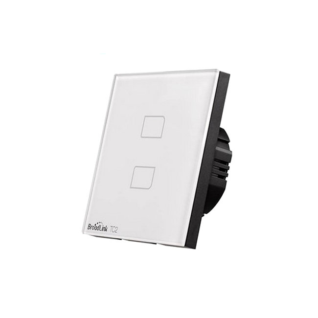 BROADLINK TC2-2 Interruptor de pared doble domotica en hogar encender luces desde movil TC2 Broadlink