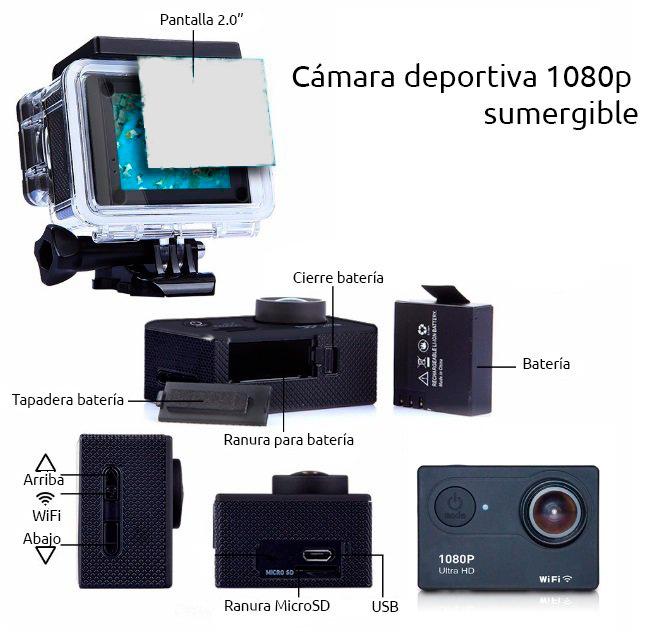 Camaras zoom CAMARA DEPORTIVA 1080P SELFIE