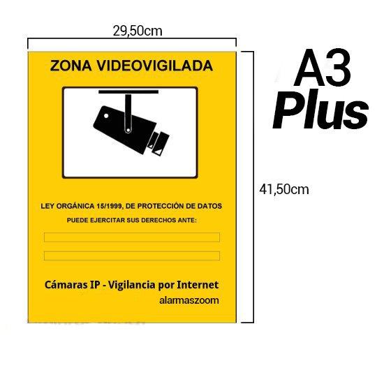 Pegatina Adhesiva A3 Plus Zona Vigilada Camaras de vigilancia