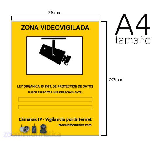 Cartel A4 PVC Rigido Zona Vigilada Camara de vigilancia