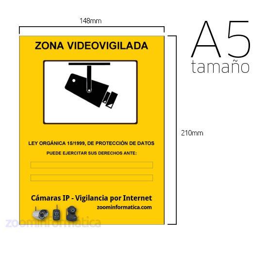 OTROS CARTEL ZONA VIGILADA A5 Pegatina A5 zona vigilada videovigilada de adhesivo camara camaras informativo LOPD