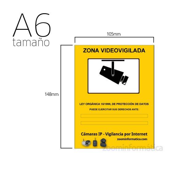 Cartel A6 PVC Rigido Zona Vigilada Camara de vigilancia