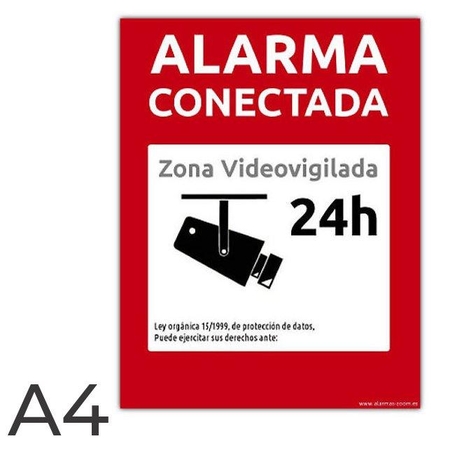 Cartel rigido PVC A4 Grande Alarma Conectada Zona Videovigilada 24 horas Rojo