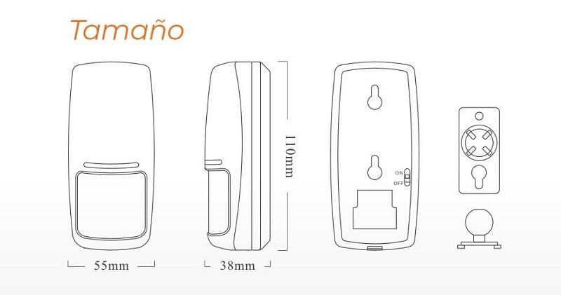 tamano-Detector-movimiento-alarma
