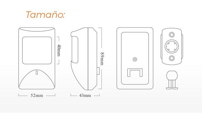tamano-Detector-movimiento-alarma-cable