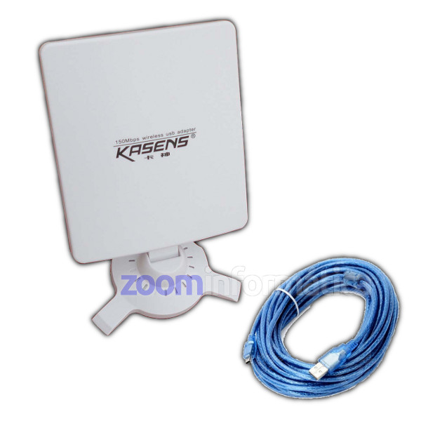 Kasens N5200 Antena WiFi panel USB con cable desmontable 5 metros Reacondicionada
