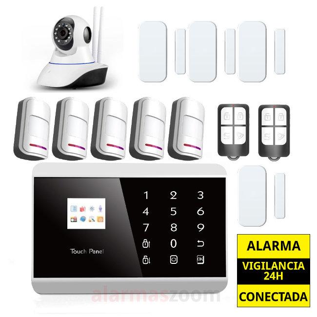 Alarma Hogar GSM Sin cuotas 5 Detectores de movimiento Camara IP AZ013