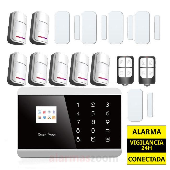 alarmas-zoom AZ013  7 PG992TQ  Kit De Alarma Inalambrica GSM con 7 sensores movimiento