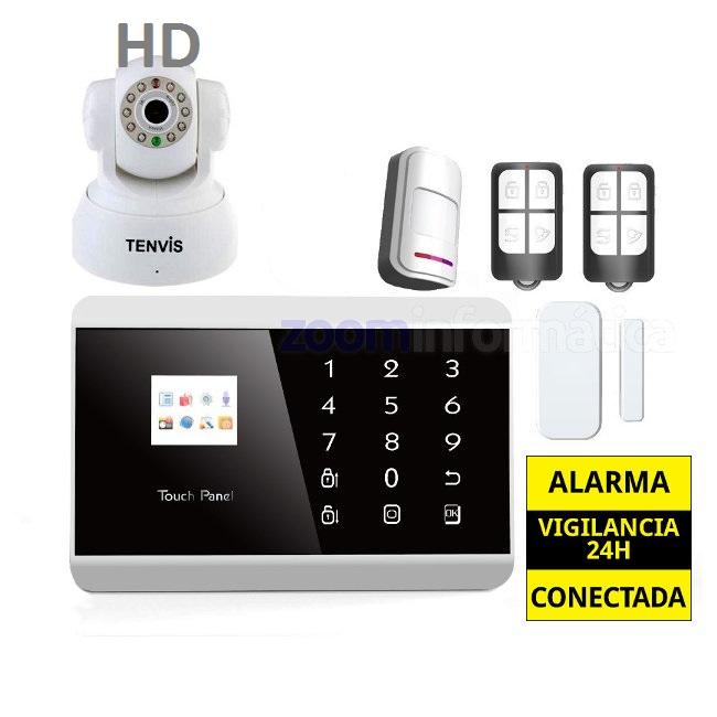 alarmas-zoom AZ013  PG992TQ 4 Kit De Alarma Inalambrica GSM sin cuotas con camara vigilancia interior