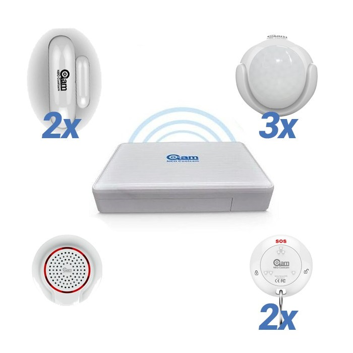NeoCoolCam Alarma Hogar WiFi Sin Cuotas conexion 3 Sensores de movimiento 2 Mandos