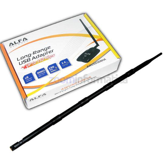 ALFA AWUS036NHA Antena WiFi USB con antena 16dBi omnidireccional