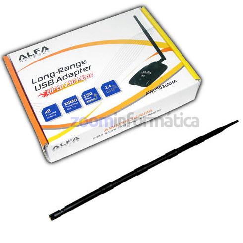 ALFA NETWORK AWUS036NHA 9DBI Tarjeta WiFi ALFA AWUS036NHA Omni 9dbi ANTENA REALTEK ATHEROS AR9271 USB ADAPTAD