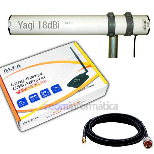 Kits WIFI Alfa network AWUS036NHA YAGI 18DBI