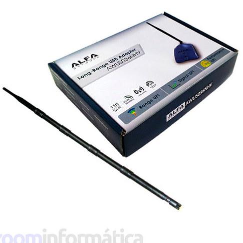 ALFA AWUS036NHR Adaptador WiFi con antena 9dBi omnidireccional