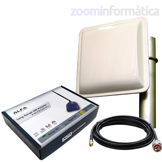 Kits WIFI Alfa network AWUS036NHV PANEL 18DBI