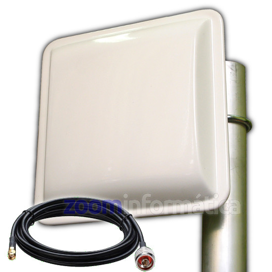 Antena WiFi Panel 18dBI Exterior Pigtail Cable 5 Metros RP SMA
