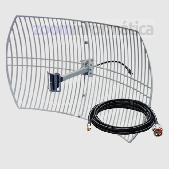ALFA AGA 2424T Antena WiFi Parabolica Rejilla 24dBi Pigtail 5 Metros RP SMA