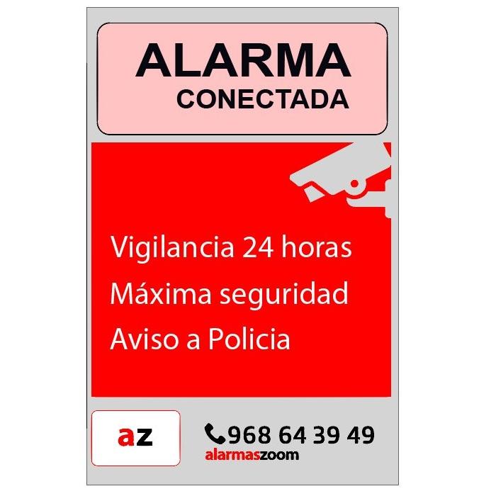 ALARMAS-ZOOM CARTEL ALARMA FONDO ROJO PEGATINA DE CARTEL ALARMA CONECTADA FONDO COLOR ROJO