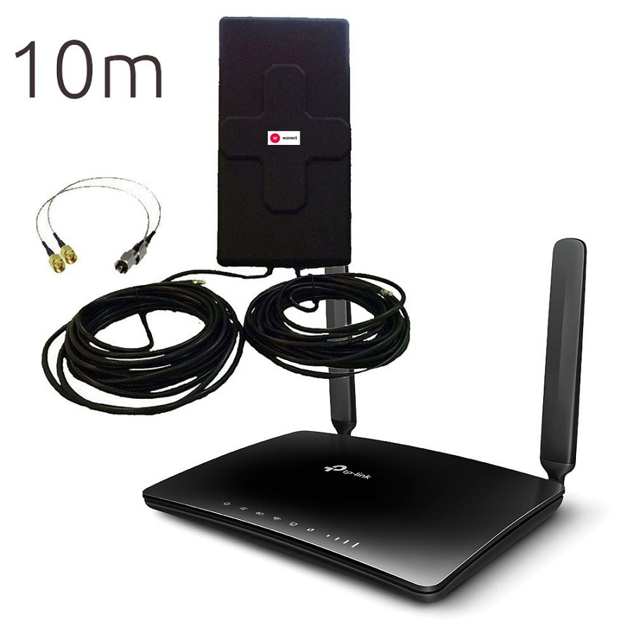 Tp Link TL MR6400 Router 4G WiFi con Antena 4G Panel 50dBi exterior 10 metros cable