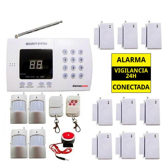 alarmas-zoom AZ011 3 TEL99E ALARMA CASA HOGAR GARAJE OFICINA 9 SENSORES DE APERTURA