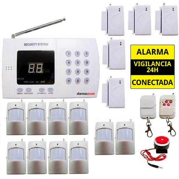 Kit alarma casa Linea Fija 10 Detectores movimiento AZ011 5